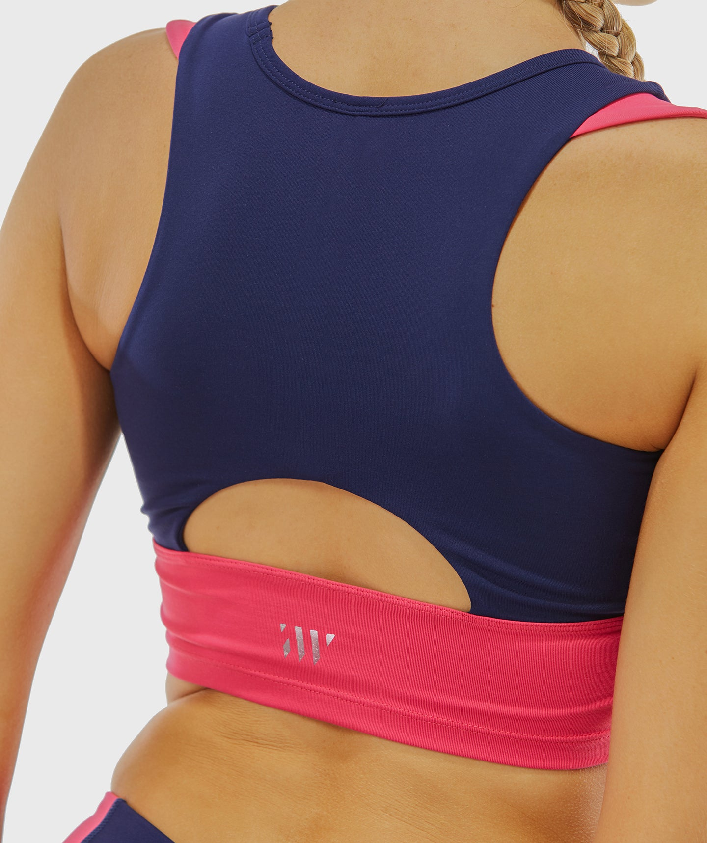 Focus Contrast Sports Bra - Navy Blue