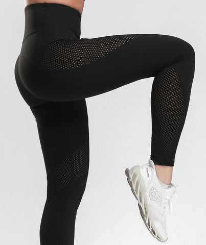 Focus Mesh Panel Sports Leggings - Black