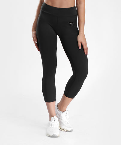 Focus Cropped Mesh Panel Sports Leggings - Black
