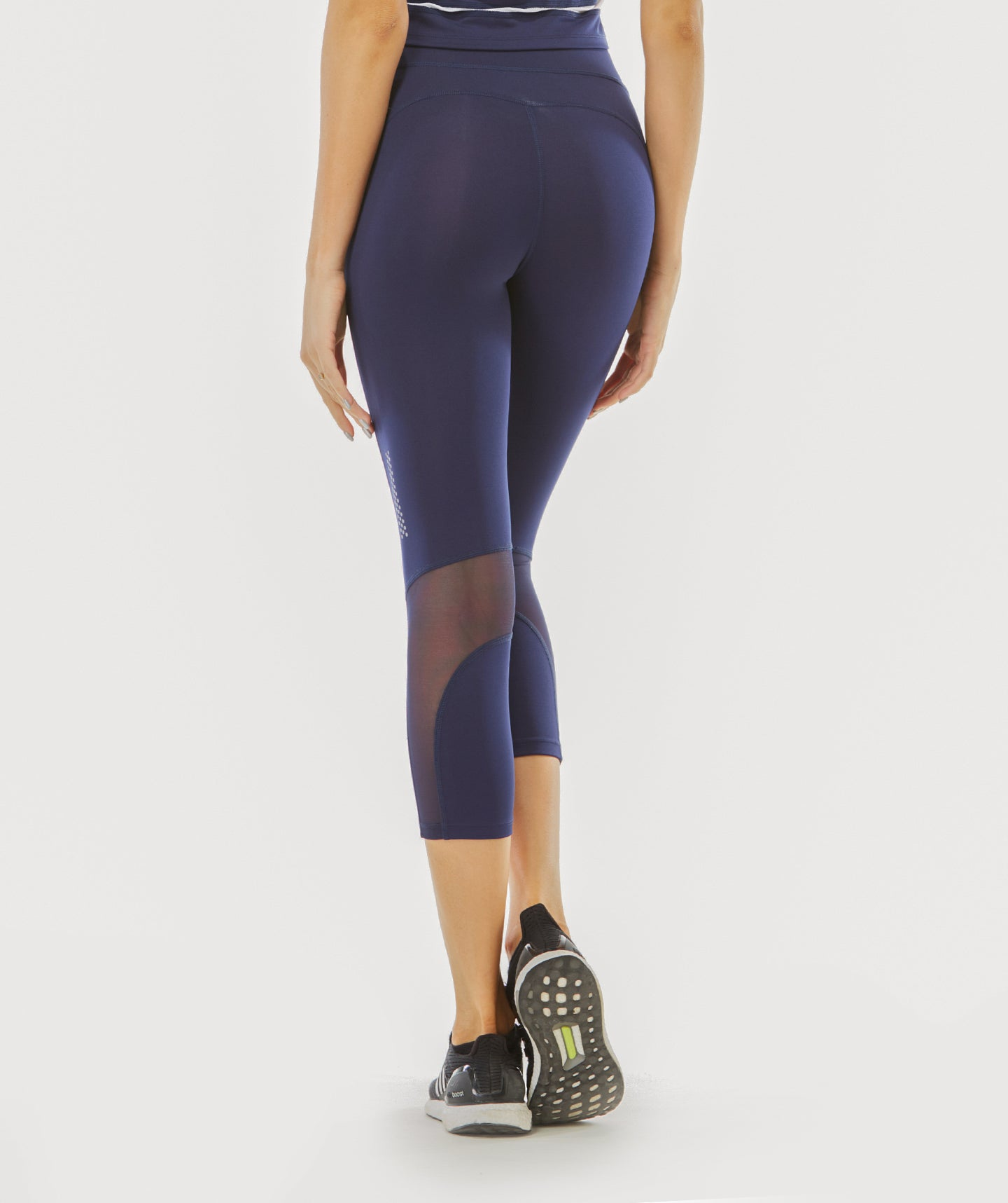 Focus Cropped Mesh Panel Sports Leggings - Navy Blue