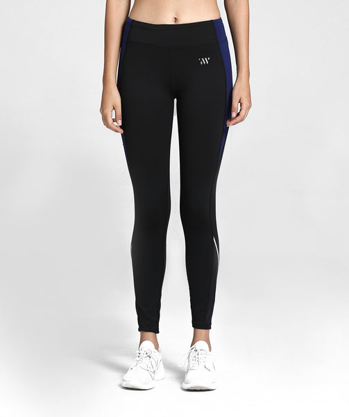 Focus Contrast Mesh Sports Leggings - Black