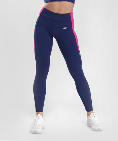 Focus Contrast Mesh Sports Leggings - Navy Blue