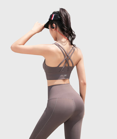 Focus Strappy Back Sports Bra - Cedar Grey