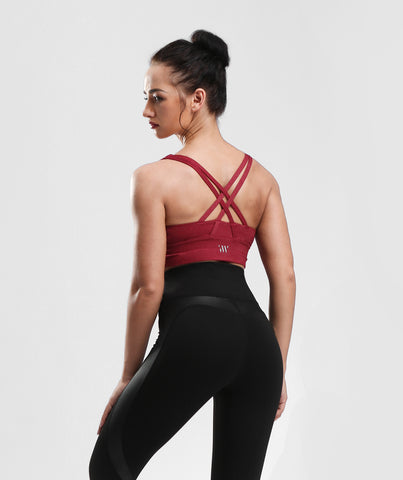 Focus Strappy Back Sports Bra - Red