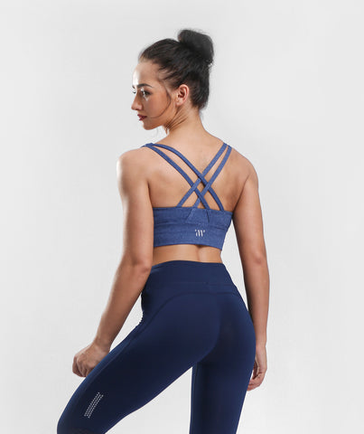 Focus Strappy Back Sports Bra - Pale Blue