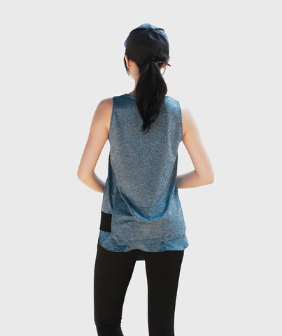Inside Glamour Layered Slice Tank  - Blue
