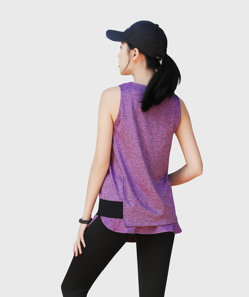 Inside Glamour Layered Slice Tank - Purple