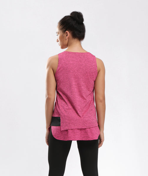 Inside Glamour Layered Slice Tank - Rose Red
