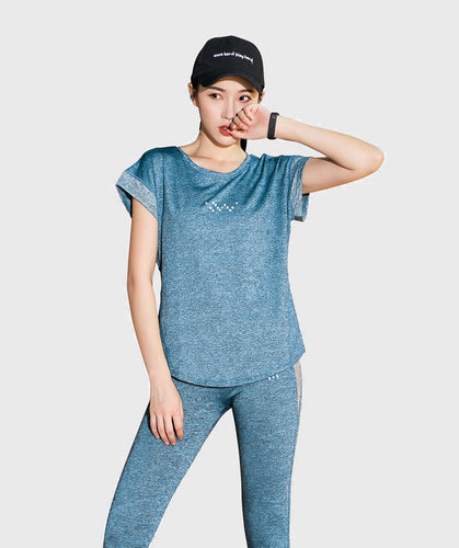 Inside Glamour Rolled Sleeve Tee - Blue