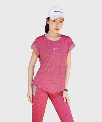 Inside Glamour Rolled Sleeve Tee - Rose Red