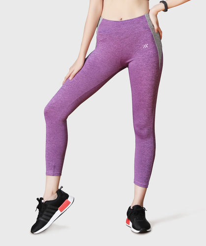 Inside Glamour Side Contrast Sports Leggings - Purple