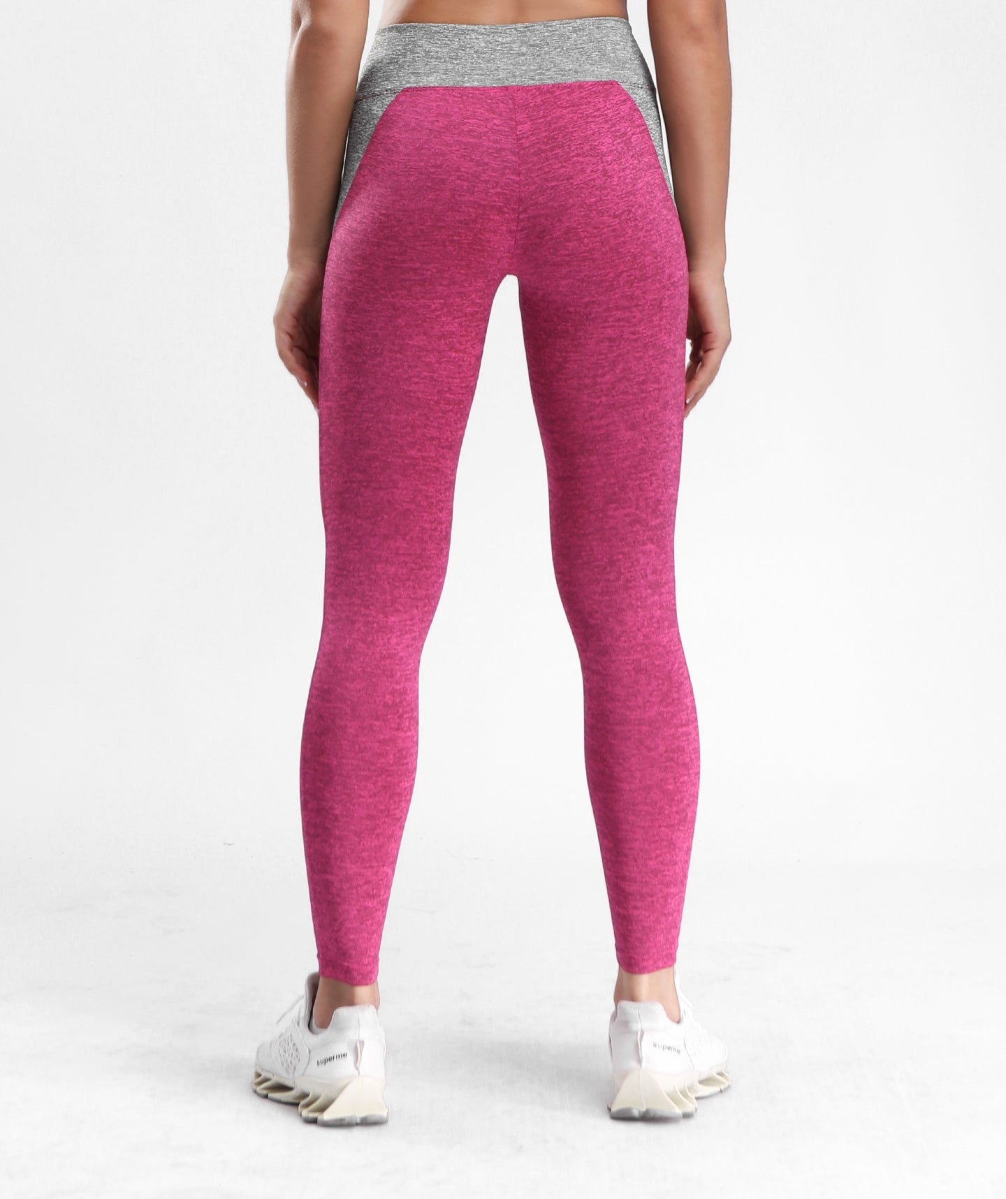 Inside Glamour Side Contrast Sports Leggings - Rose Red