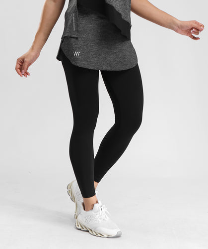 Inside Glamour Skirted Sports Leggings - Black