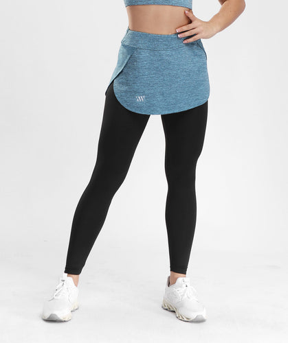 Inside Glamour Skirted Sports Leggings - Blue