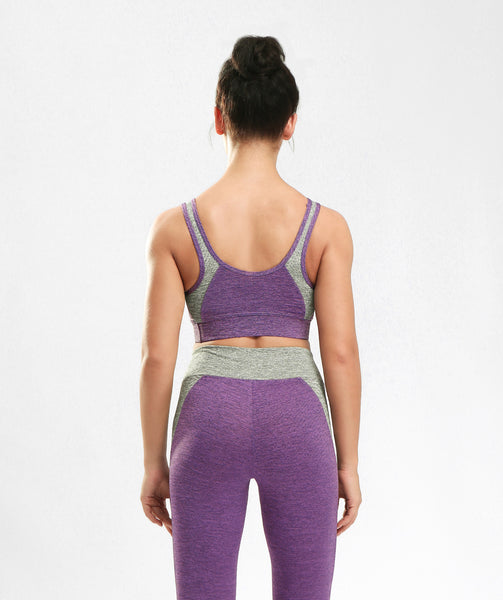 Inside Glamour Padded Comfort Sports Bra - Purple