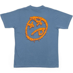 BSD Melting Acid Face Tee - Petrol Blue
