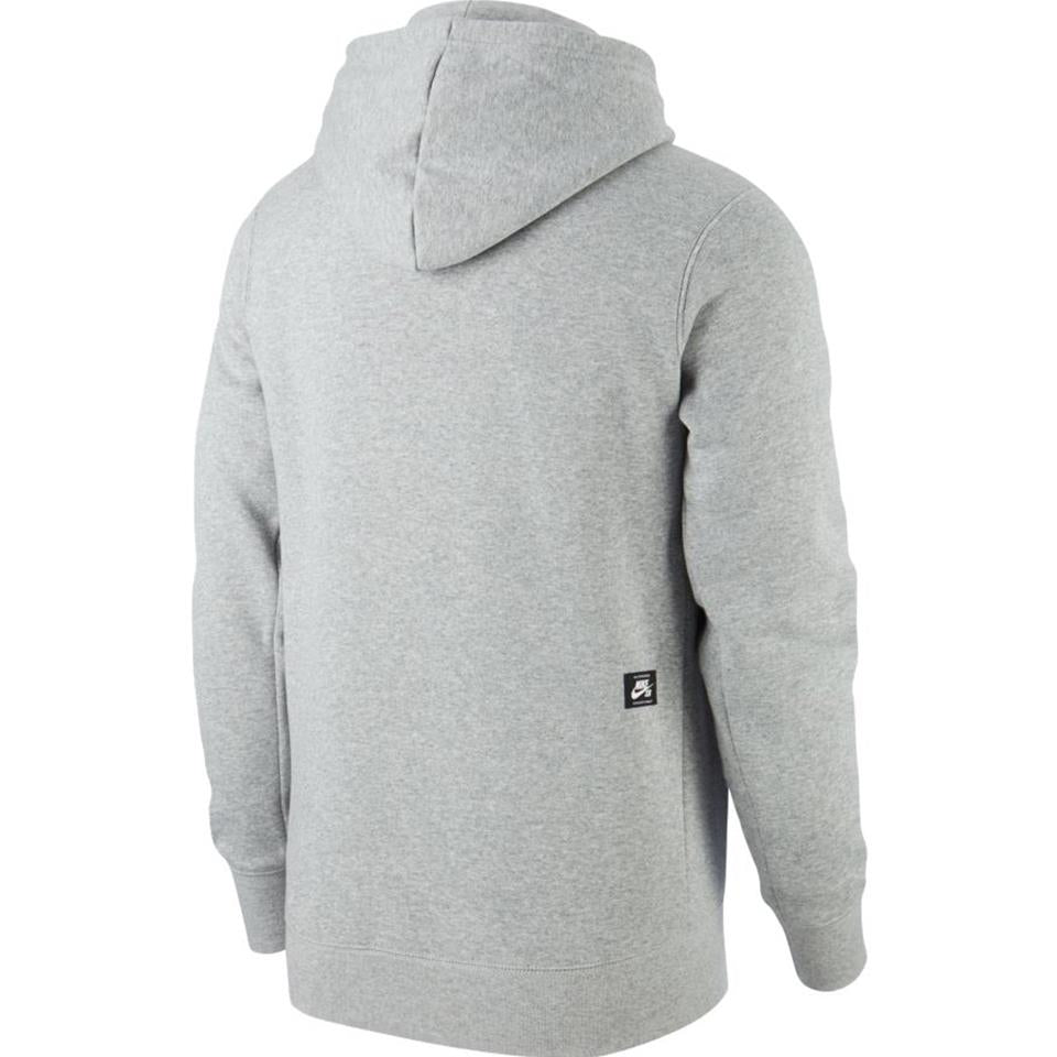 Nike SB Men's Pullover Skate Hoodie - Grey Heather/Black