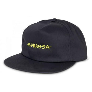 Subrosa Crossed Snapback Black with Yellow Stitching