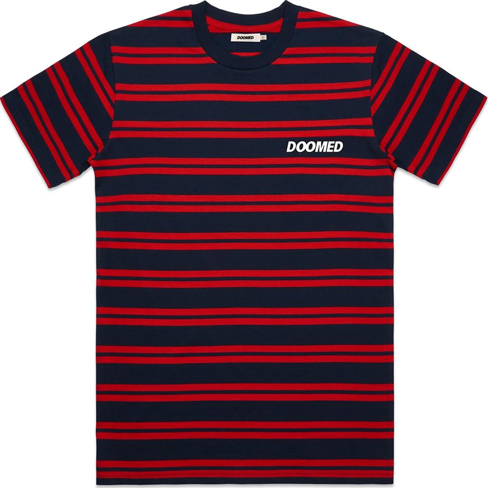 Doomed Stripe T-Shirt - Navy/Red