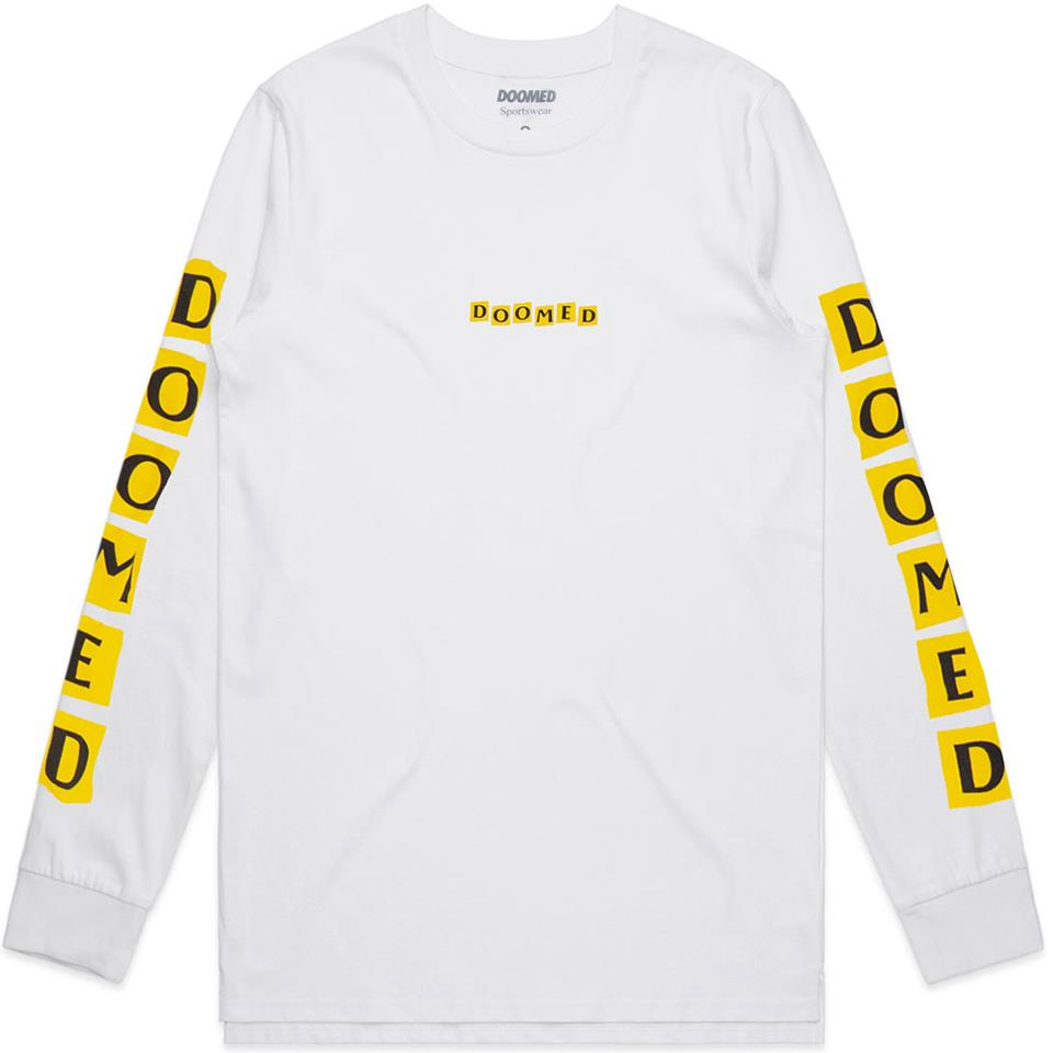 Doomed Jenny Bloc Long Sleeve T-Shirt - White