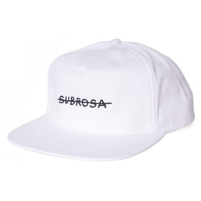Subrosa Crossed Snapback White with Black Stitching