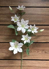"ITEM 00957 W - 37"" WHITE CLEMATIS SPRAY"