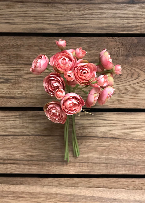 "ITEM 00972 PINK - 11"" PINK RANUNCULUS - 6 STEMS PER BUNDLE"