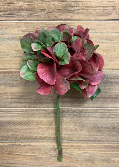 "ITEM 00976 BURGR - 13"" BURGUNDY GREEN HYDRANGEA SPRAY"