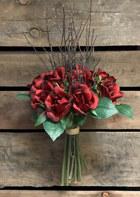 "ITEM 10143 R - 15"" ROSE AND TWIG BUNDLE"