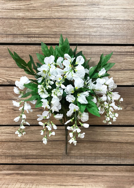 "ITEM 10149 W - 22"" WHITE WISTERIA BUSH X 8"
