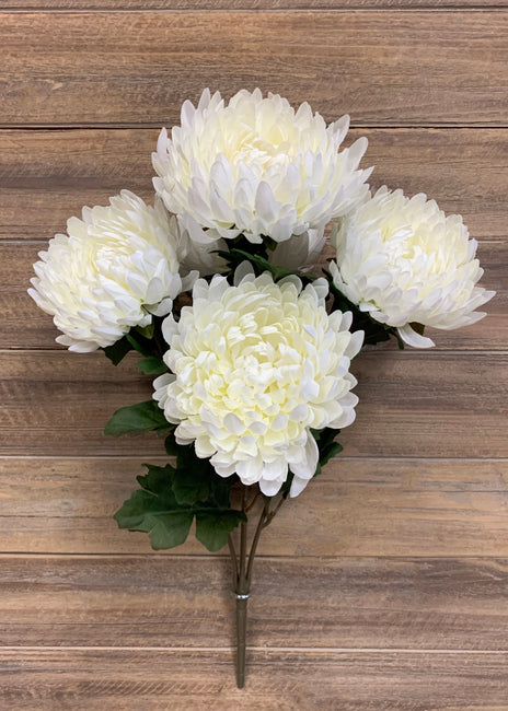 "ITEM 10161 W - 20"" WHITE FOOTBALL MUM BUSH X 5"