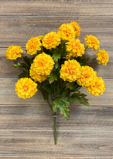 "ITEM 10162 Y - 16""YELLOW ZINNIA BUSH X 9"