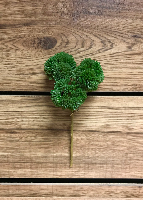 "ITEM 11252 GR - 9"" GREEN REAL TOUCH SEDUM PICK"