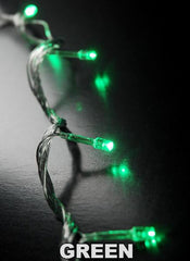 ITEM 1235 GR - 15 GREEN LED battery operated lights on a clear wire