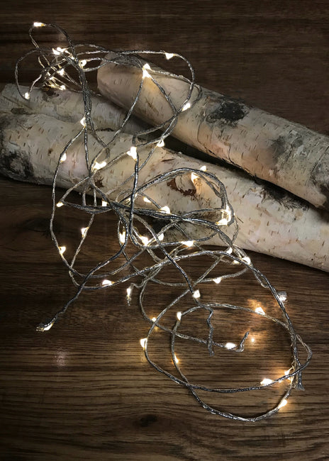 ITEM 1524 WARM - 72 WARM WHITE LED LIGHTS W/8 FUNCTIONS WITH SILVER ROPE AND WIRE