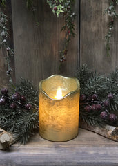 "ITEM 1538 - 3""X4""GOLD FINISH MOVING FLAME LED PILLAR"