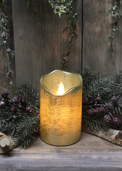 "ITEM 1539 - 3""X5""GOLD FINISH MOVING FLAME LED PILLAR"