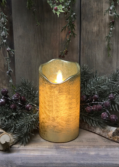 "ITEM 1541 - 3""X7""GOLD FINISH MOVING FLAME LED PILLAR"