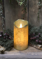 "ITEM 1542 - 3""X8""GOLD FINISH MOVING FLAME LED PILLAR"