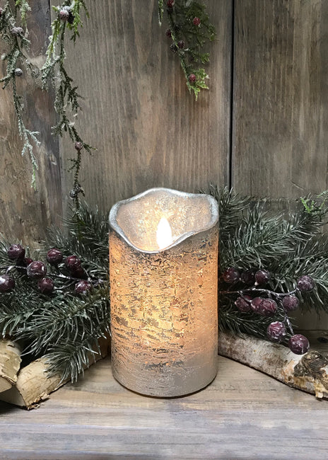 "ITEM 1545 - 3""X6""SILVER FINISH MOVING FLAME LED PILLAR"
