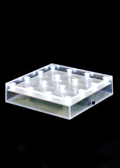 "ITEM 1550 W - 5""  SQUARE ACRYLIC BASE WITH 16 COOL WHITE LED LIGHTS"