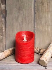 "ITEM 1554 - 3""X4"" RED WAVE RIM MOVING FLAME LED PILLAR"