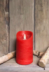 "ITEM 1555 - 3""X5"" RED WAVE RIM MOVING FLAME LED PILLAR"