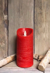 "ITEM 1556 - 3""X6"" RED WAVE RIM MOVING FLAME LED PILLAR"