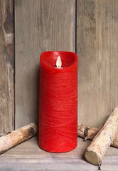 "ITEM 1557 - 3""X7"" RED WAVE RIM MOVING FLAME LED PILLAR"