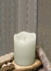 "ITEM 1568 IVORY - 3""X4"" IVORY RUSTIC FINISH MOVING FLAME LED PILLAR"