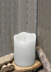 "ITEM 1568 W - 3""X4"" WHITE RUSTIC FINISH MOVING FLAME LED PILLAR"