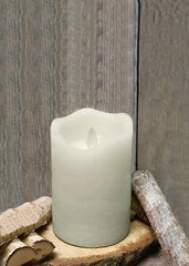 "ITEM 1569 IVORY - 3""X5"" IVORY RUSTIC FINISH MOVING FLAME LED PILLAR"