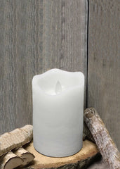 "ITEM 1569 W - 3""X5"" WHITE RUSTIC FINISH MOVING FLAME LED PILLAR"