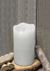 "ITEM 1570 W - 3""X6"" WHITE RUSTIC FINISH MOVING FLAME LED PILLAR"